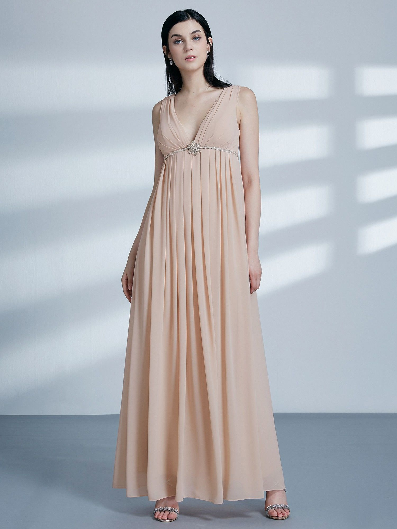 d920a7cd7c62d V Neck Empire Waist Long Bridesmaid Dress | Ever-Pretty #bridesmaids  #bridesmaid #weddingidea #weddingideas #chiffondress #EverPretty