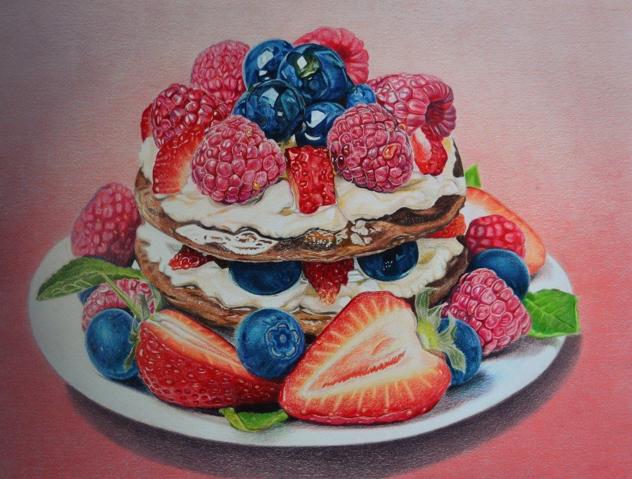 Drawing Cake Colour Crepes Color Pencils Drawing Ekaterina Putiatina Art And