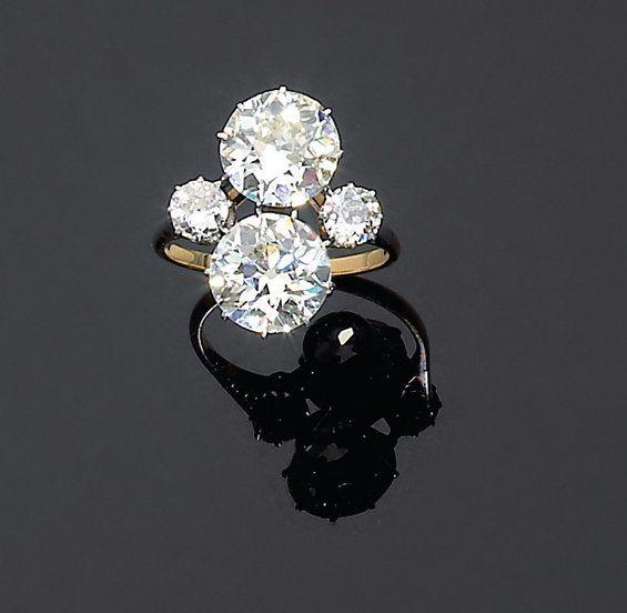 Célèbre Originale bague toi et moi ornée de deux diamants brillantés en  YZ75