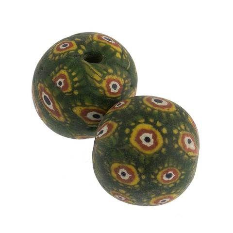 Ancient Indonesian Jatim bead replica. 19mm pkg of 1. b1