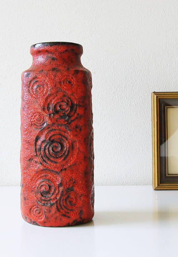 Red West Germany vase by Scheurich decor Jura. Vintage 1970's | eBay