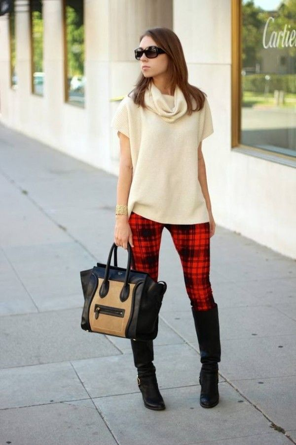 1000  images about Fashion red and black check Tartan pants on ...