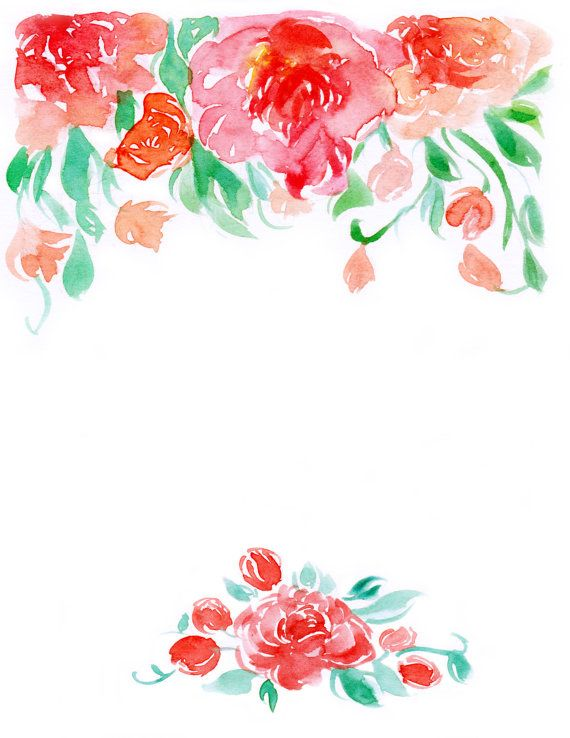Downloadable Watercolor Floral Border 2 By Waterncolour On Etsy