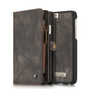 """NEW Handmade quality real cowhide, material made of the classic!Only applicable to:iPhone 6 plus/6S plus5.5"""".(NOT for iPhone 6/6S 4.7""""),  Slim profile, business fashion noble appearance, magnetic suction shell with wallet separation, more convenient to answer the phone.Included card slots and money pocket: carry around your ID, credit and debit cards, and cash without having to take your wallet with you."""
