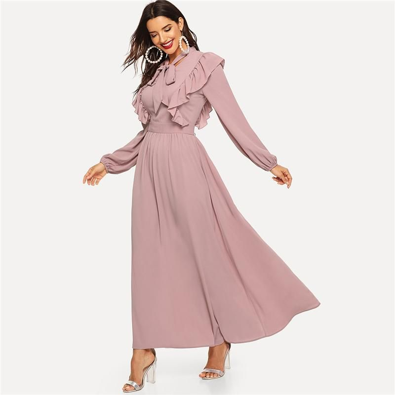 Elegant Abaya Tie Neck Fit and Flare Ruffle Pleated High Waist A-Line Women  Dress - Pink e9ccee2d0c6a