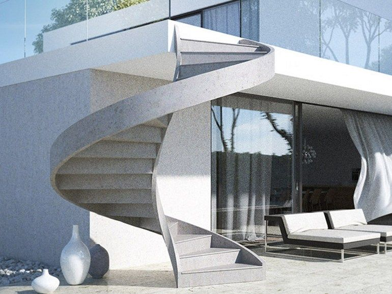 Concrete line escalera de caracol para exterior by for Modelo de escaleras de concreto para exteriores