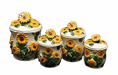 Sunflower 4 PC Ceramic Canister Set