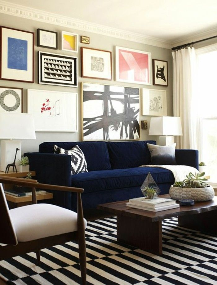 Sofa Blue Wanddeko Stripes Rug White Curtains Blue Furniture Living Room Blue Sofas Living Room Blue Sofa Living