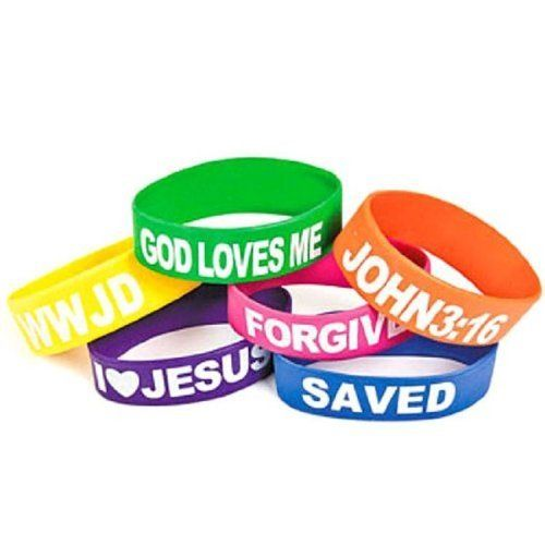 Wholesale Rubber Religious Big Band Bracelets God Loves Me, I Love Jesus, Saved, Forgiven, John 3:16 And Wwjd (12 Pack), 2015 Amazon Top Rated Shaped Rubber Wristbands #Toy