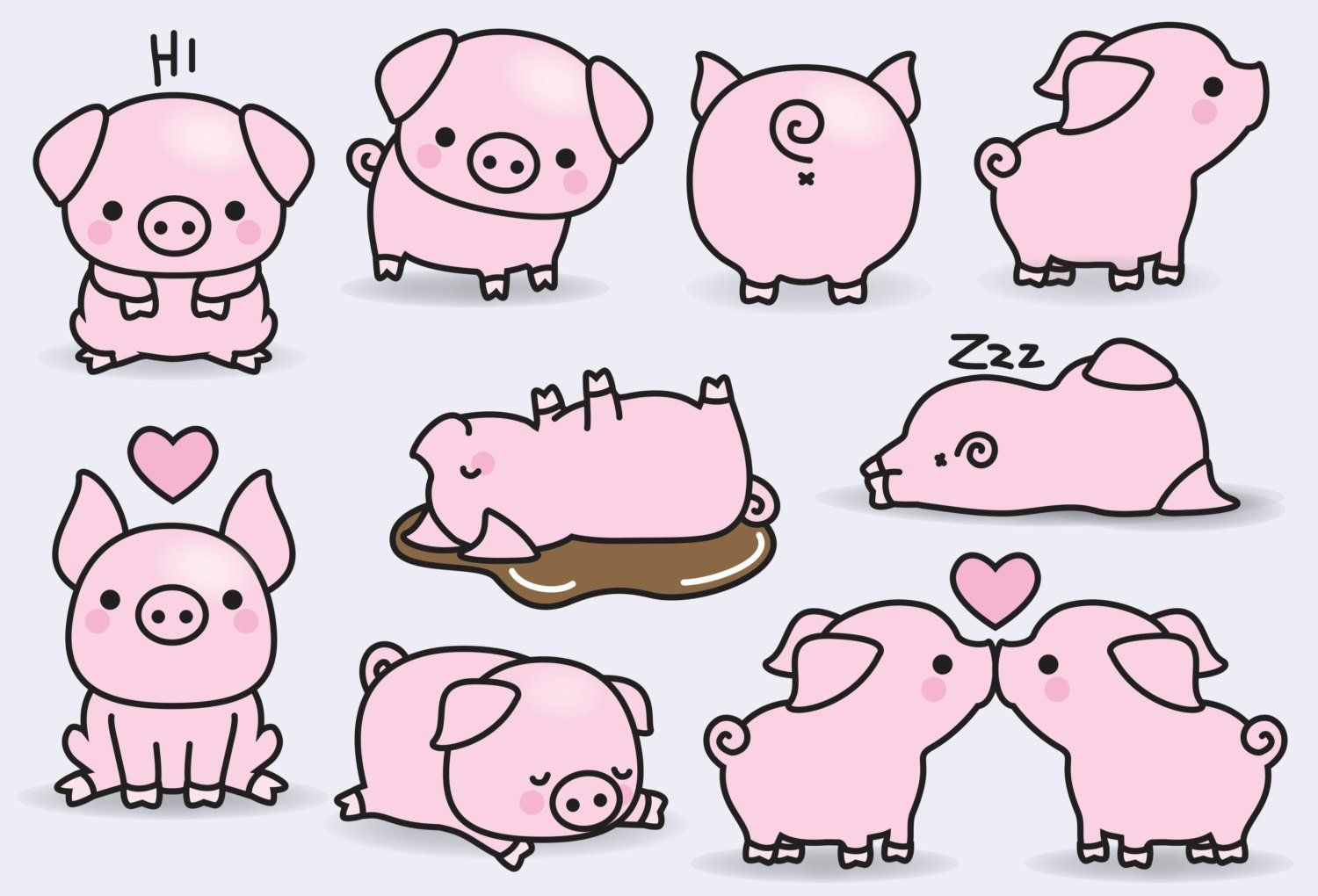premium vector clipart kawaii pigs cute pigs clipart set etsy [ 1500 x 1020 Pixel ]