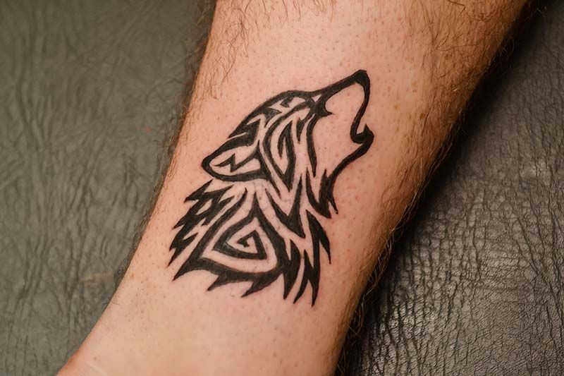 Tribal Wolf Tattoo On The Upper Arm Maybe Art Tattoos Wolf