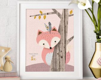 Woodlands Nursery Wall Art Rustic Fox Decor Baby