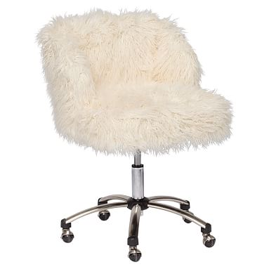 Fluffy Desk Chair Isokinetic Ball Fl15 Fur Wingback Furlicious 15 Ivory In 2019 Senior Pbteen