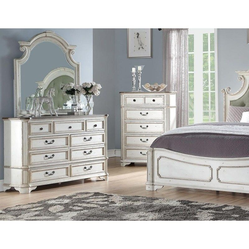 Best Master Furniture Antique White 7drawer Dresser with