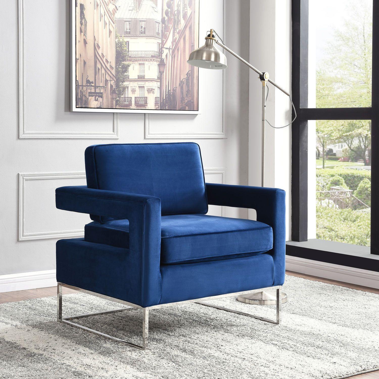 Noah Navy Chair Accent Chairs Velvet Accent Chair Meridian