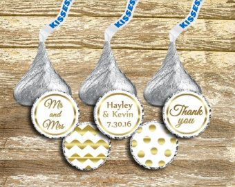 Hershey Kiss Stickers Wedding Gold Kisses Labels White And
