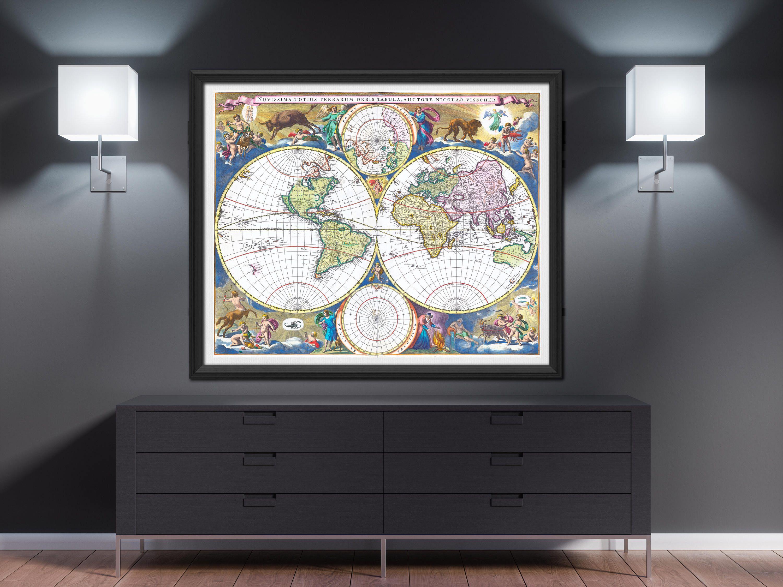 World Map Print 1690 Poster Wall Art Large Vintage Room Decor Push Pin Worldmap Memonde