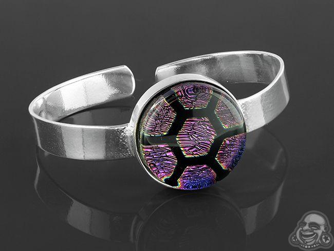 Steel and glass honeycomb bracelet