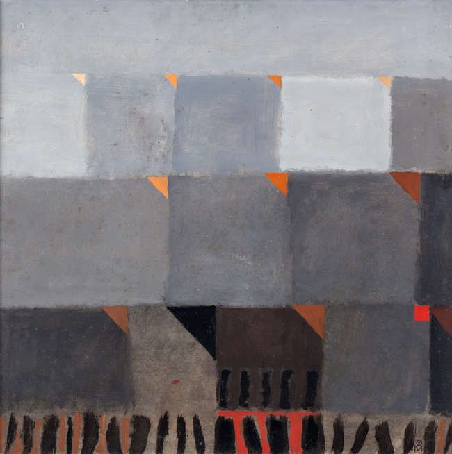 Colin Middleton MBE RHA RUA (1910-1983) Grey Fields (1965) Oil on board, 60 x 60cm (23½ x 23½'') Signed with monogram; Also signed, inscribed and dated 1965 verso While each decade of Colin Middleton's work demonstrates fresh ambitions and innovatio