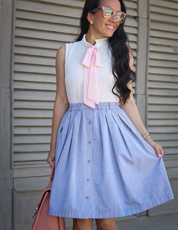 how to look stylish on a budget chambray skirt bow
