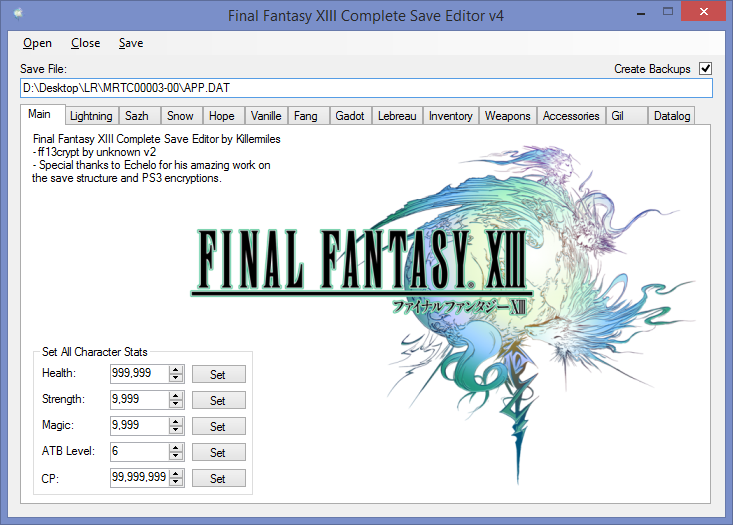 Release] Final Fantasy XIII Complete Save Editor for X360 and PS3