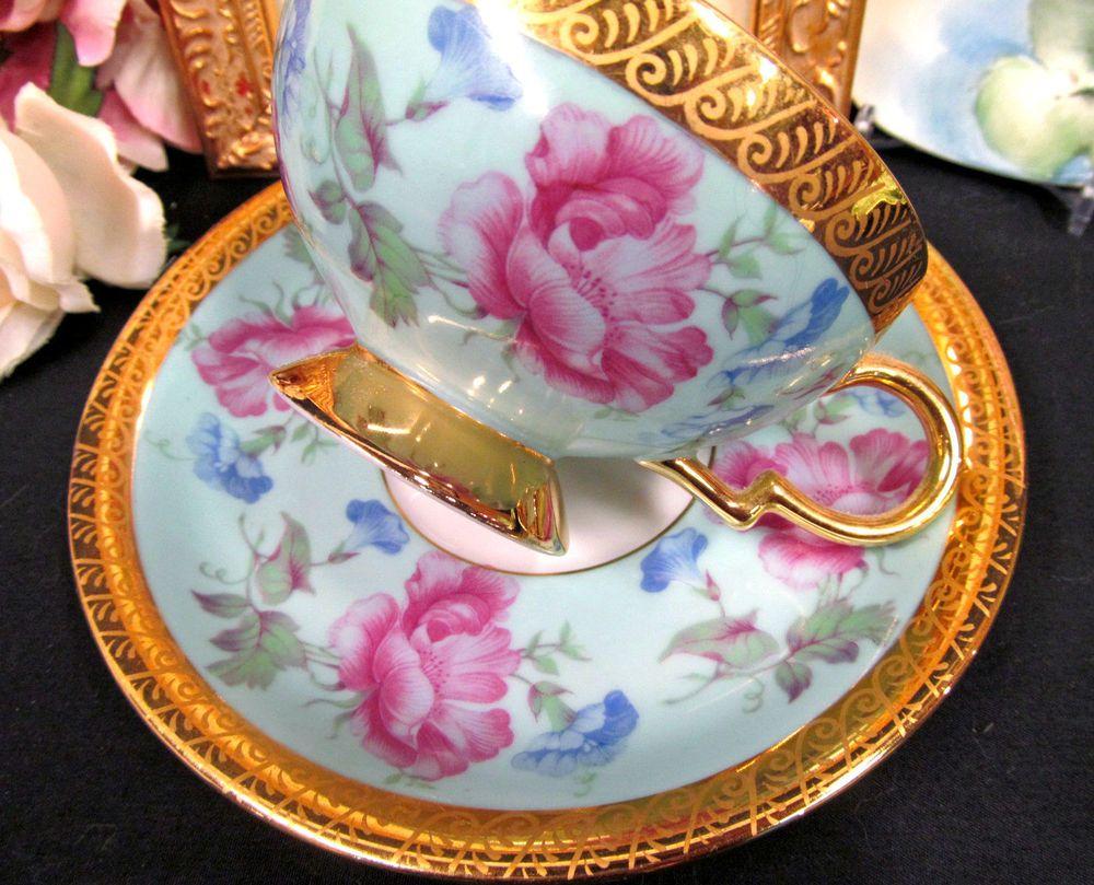 Bavaria Germany Tea Cup and Saucer Gold Gilt Baby Blue Floral Teacup Pattern | eBay