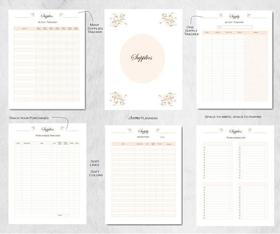Supply Inventory Tracker, Home business organizer, small business