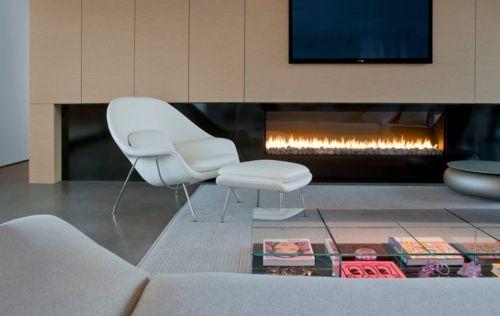 Ethanol Kamin Designer Sessel In Weiß