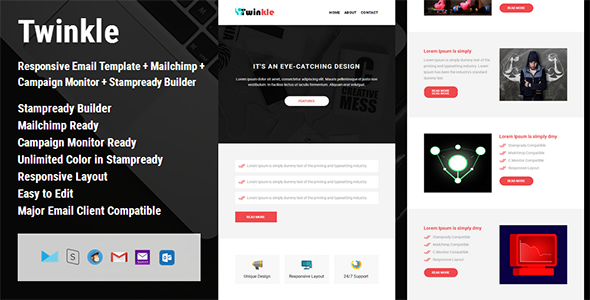 Twinkle Responsive Email Template Campaign Monitor Mailchimp - Mailchimp template builder