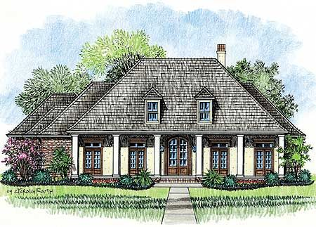 Plan 14138kb Acadian House Plan With Wrap Around Porch French