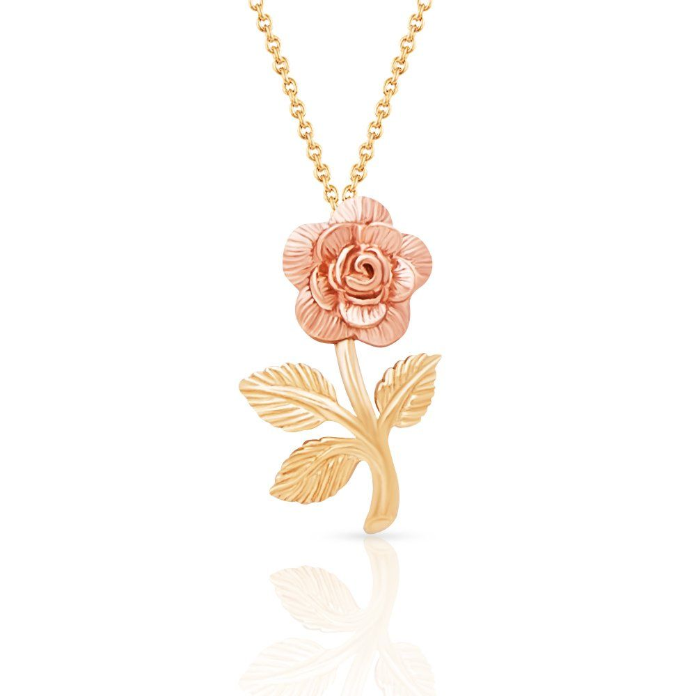 Beauty and the beast k solid yellow and rose gold rose pendant