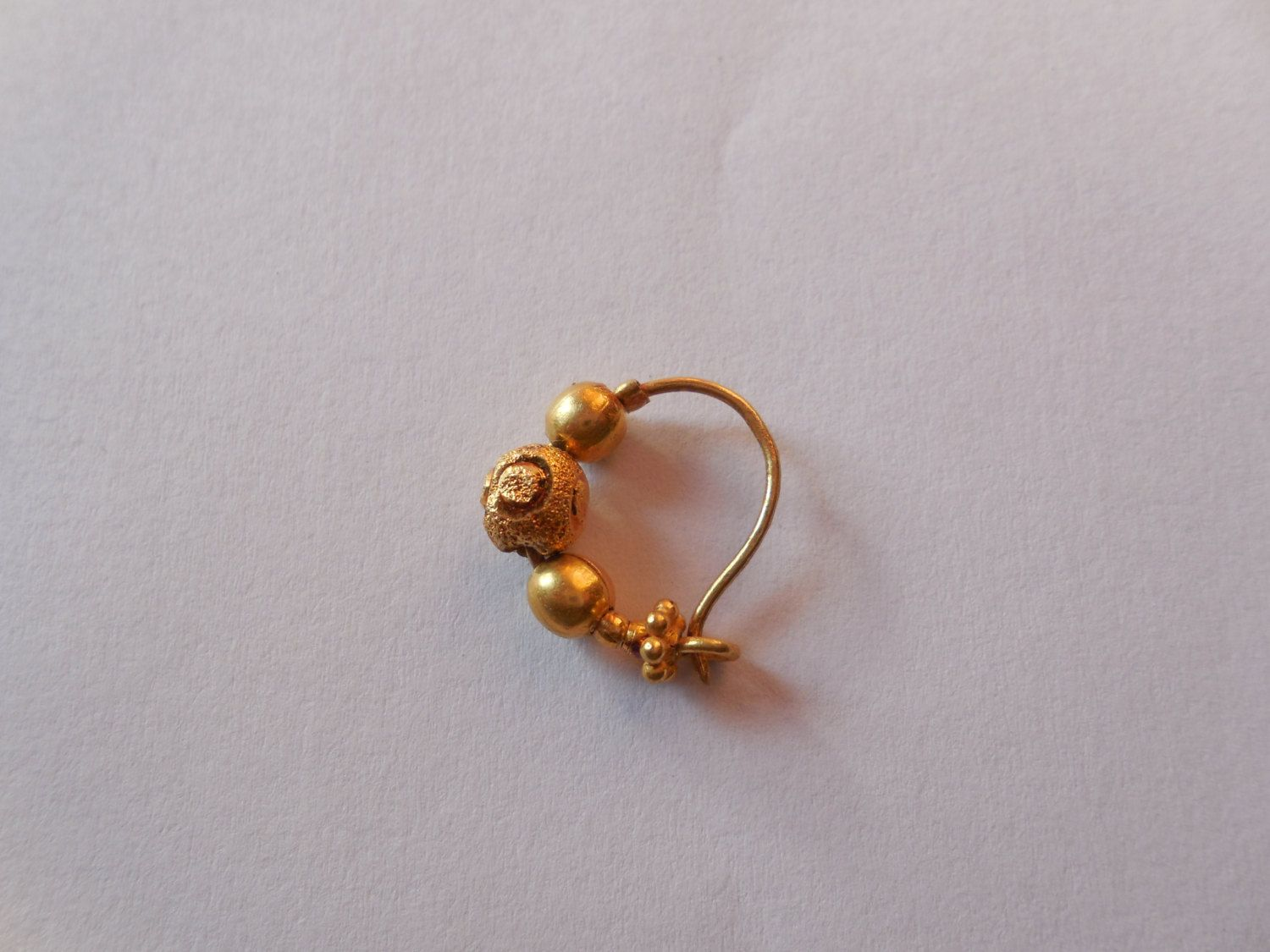 Without piercing nose ring  Gold Plated Beaded Nose ring Piercing Nose Jewelry Small size