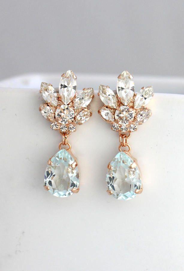 Etsy Bridal Chandeliers Aquamarine Chandelier Blue Sky Earrings Rose Gold Earr