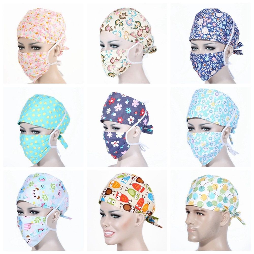Men Women Printing Scrub Cap Doctor Nurses Mask Medical Surgical