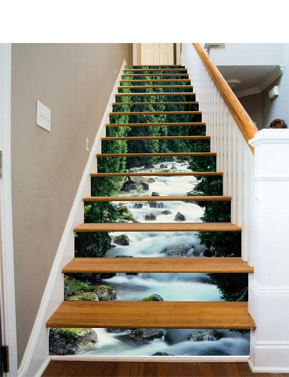 3D Froest River Stair Sticker Stair Risers PVC Sticker