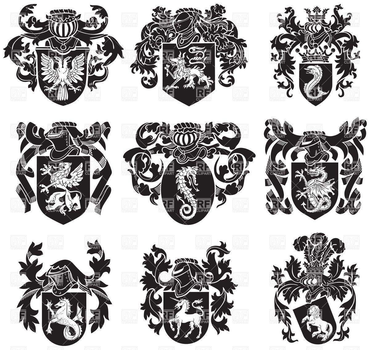 coat-of-arms-medieval-heraldic-emblems-Download-Royalty-free ...
