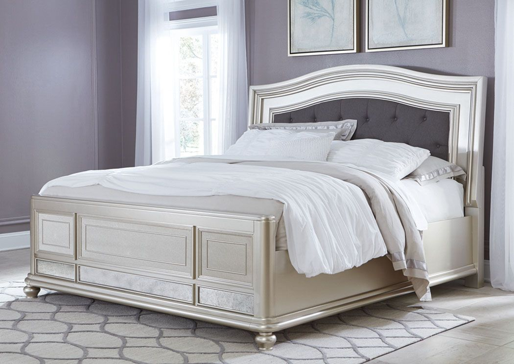 Coralayne Queen Upholstered Bed Allures With The Glitz And Glam