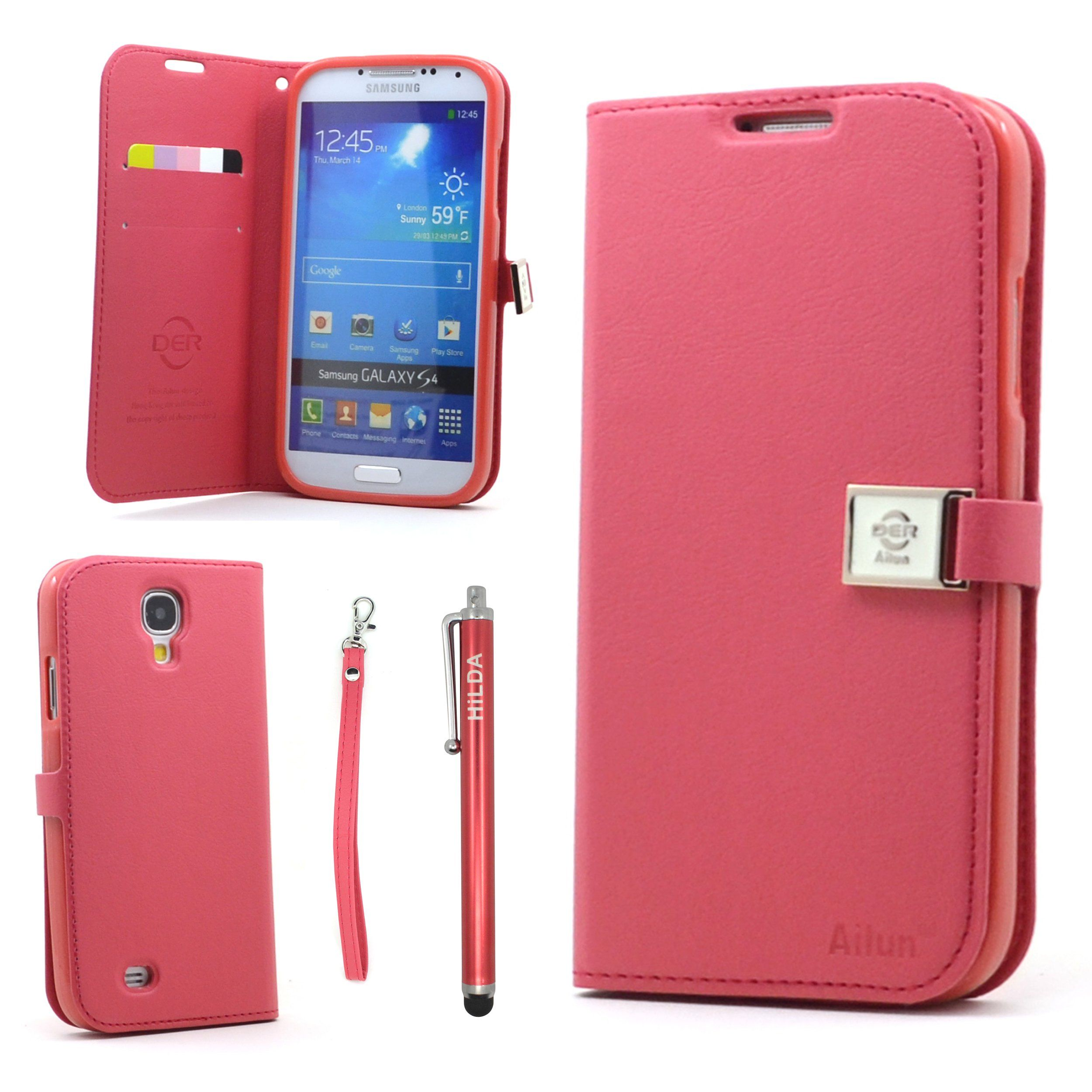Galaxy S4 Case,By Ailun(TM),Galaxy S4 Wallet Case,Galaxy S4 Leather Case, Credit Card Holder PU Flip Cute Case Cover [Red] whith Screen Protector with Styli Pen:Amazon:Cell Phones & Accessories