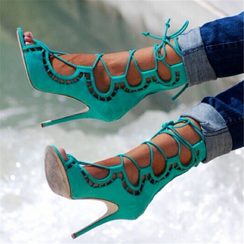 68.75$  Buy now - http://alift0.worldwells.pw/go.php?t=32758375870 - Sexy Cut Outs Ankle Cross Tied Lace Up Sandals Boots High Heels Gladiator Sandals Women Sandals 2016 Shoes Woman Sandalias Mujer