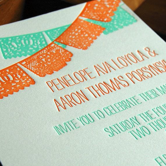 papel picado letterpress wedding invitation by paisleytreepress, Wedding invitations