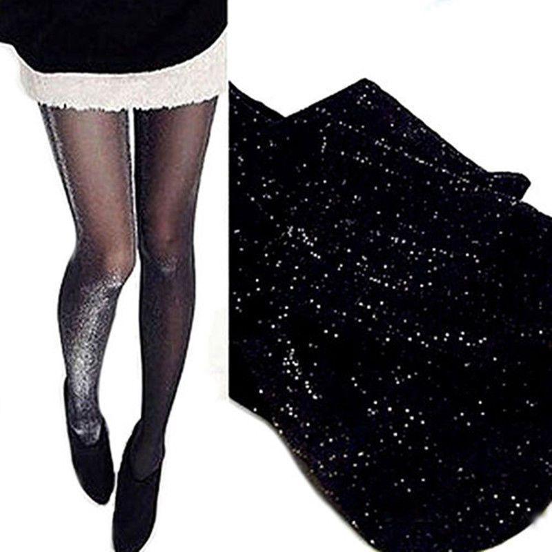 Naisten kiiltävät mustat sukkahousut - (Glitter) ilmainen toimitus kotiin. d472e6d82f