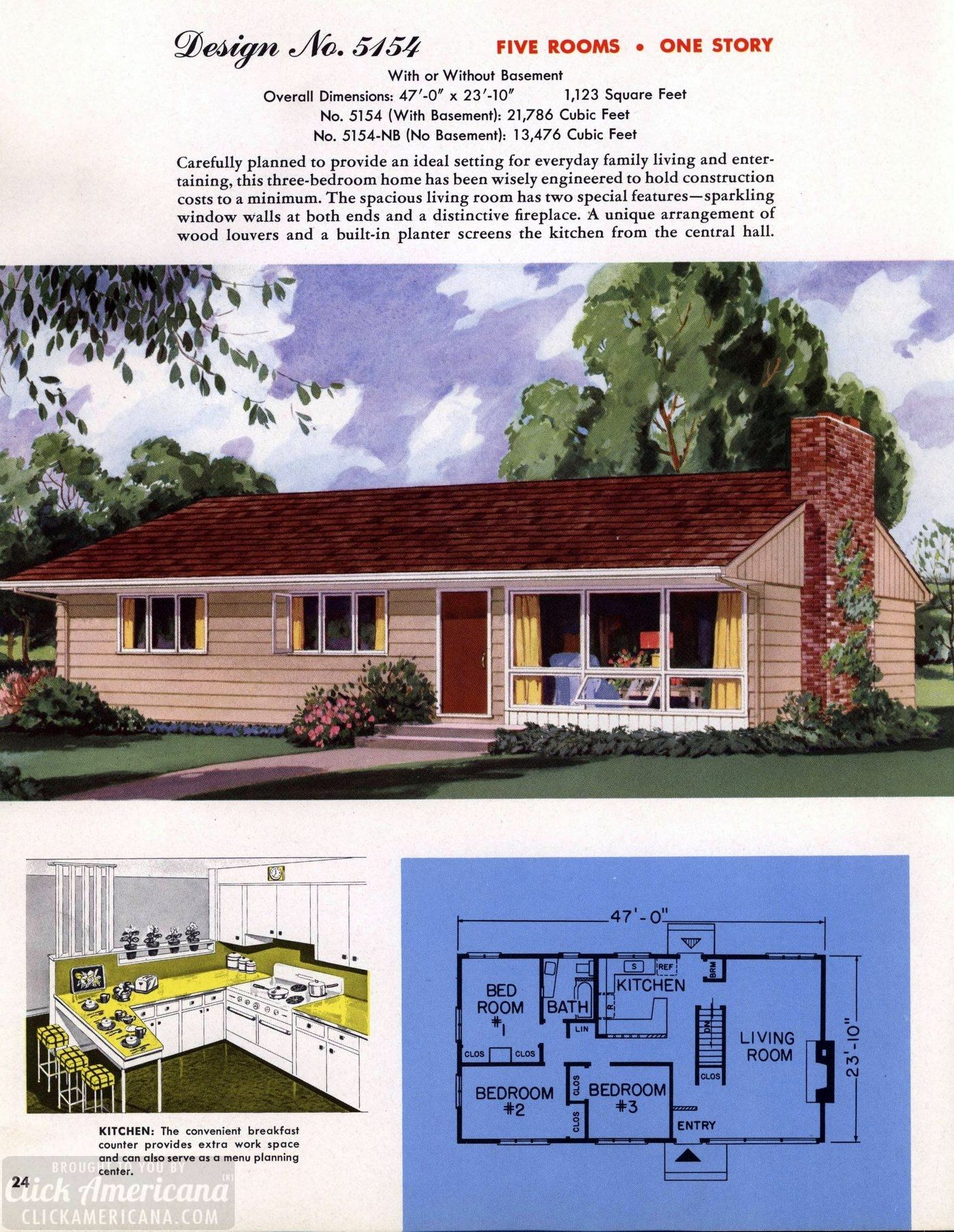 Classic House Plans From 1955 50s Suburban Home Designs At Click Americana 25 Vintage House Plans Sims House Plans Classic House