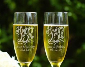 Winter wedding glasss silver champagne flutes personalized bride
