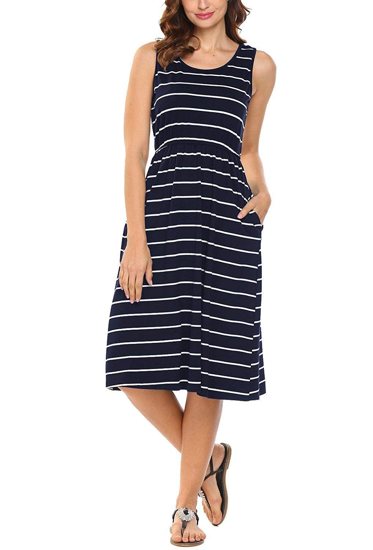 Hount womens summer sleeveless striped empire waist loose