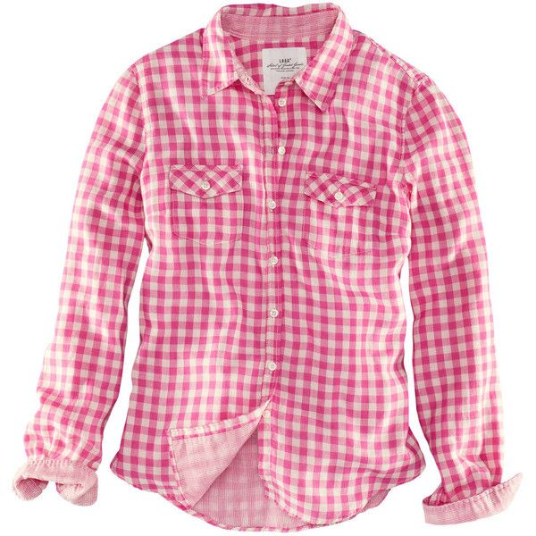H&M Shirt ($22) ❤ liked on Polyvore featuring tops, blouses, shirts, blusas, camisas, pink button-down shirts, shirt blouse, checkered top, pink checked shirt and button shirt