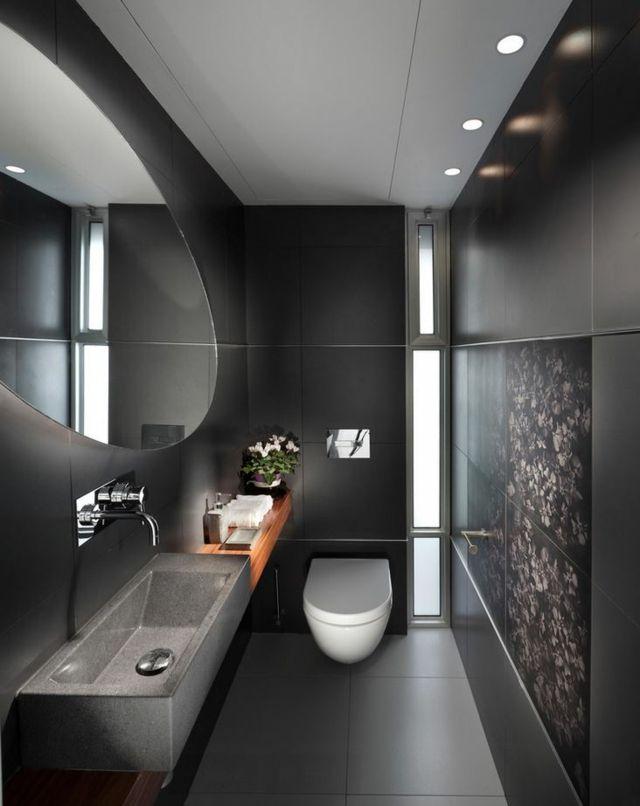Des teintes sombres pour une salle de bain moderne | Longueur ...