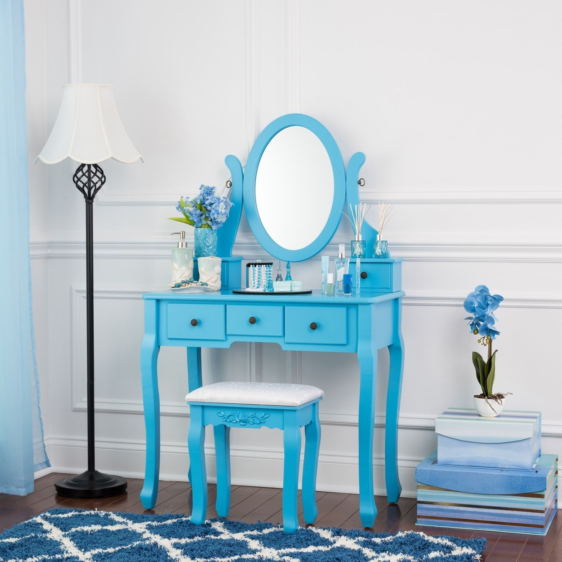 Fineboard single mirror dressing table set five organization fineboard single mirror dressing table set five organization drawers vanity table with wooden stool geotapseo Images