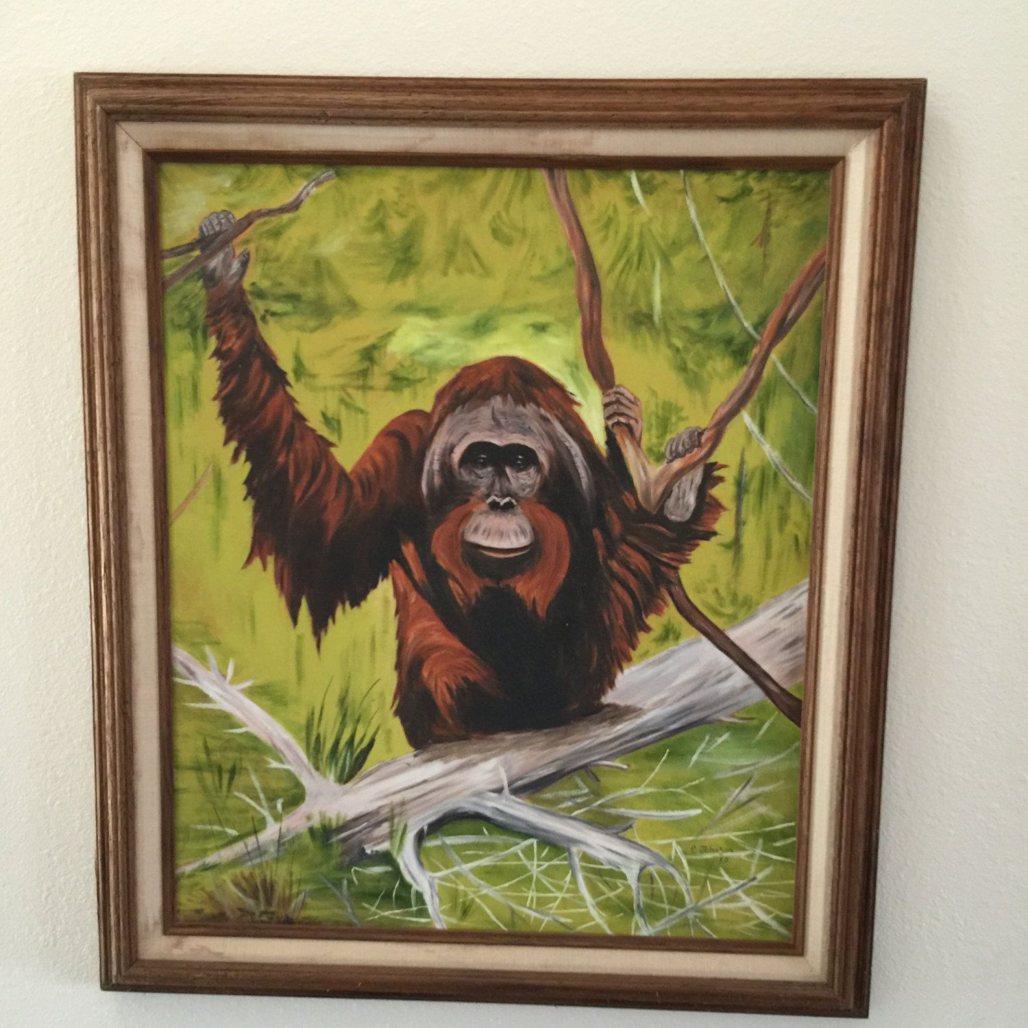 Orangutan In The Jungle Framed Oil Painting On Canvas Vintage Ken