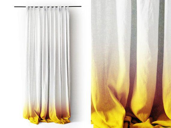 Weiße Leinen Vorhang Panel Ombrè gelb verblassen zu weiß Prise - wohnzimmer gelb weis