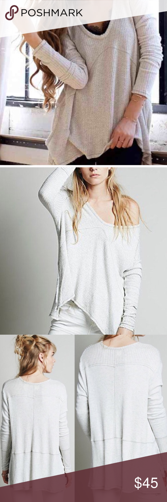 Free People Sunset Park Thermal 🌼 Free People Sunset Park Thermal in heathered oatmeal.  Features oversized fit, v-neck and raw edges that intentionally fray.  In excellent ,gently used condition. Free People Tops